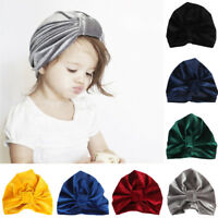 Baby Infant Girls Knot Turban Velvet Stretchy Beanie Hat Solid Head Wrap Cap
