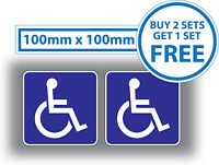 2 x Disabled Car Stickers Blue Badge Mobility Window Bumper Vehicle Vinyl 100mm