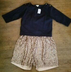 NEW NWT! CREW CUTS by J.CREW girls Jumpsuit Romper shorts/top sz 16 SEQUINED!