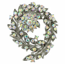 Flower Leaf Wreath Made With Swarovski Crystal Floral Brooch Jewelry Pin Gift
