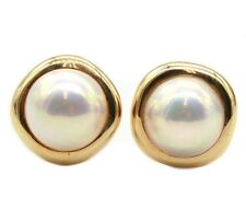 4505d58af Tiffany & Co 14K Yellow Gold Mabe Pearl Earrings. 18mm earrings