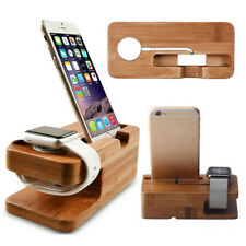 Wood Bamboo Charging Dock Station Charger Stand Holder For Iphone Watch & Phones