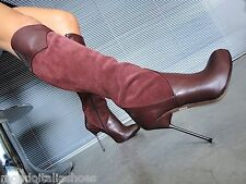 MORI ITALY KNEE HEELS BOOTS STIEFEL STIVALI SUEDE LEATHER BORDEAUX RED BORDO 39