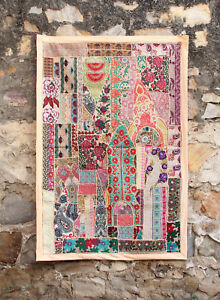 Embroidered Vintage Wall Patchwork Throw Handmade Decor Hanging Tapestry