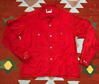 Vintage 50s Penney's Towncraft Loop Collar Shirt Rayon Gabardine L Rockabilly
