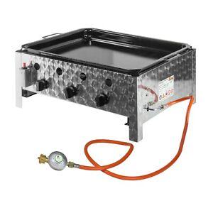 Edelstahl Gasbräter Gasgrill 3 flammig Gastrobräter mit Stahlpfanne Gastro P3