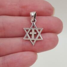 925 Sterling Silver Mini MESSIANIC Pendant Necklace Star Of David With Cross