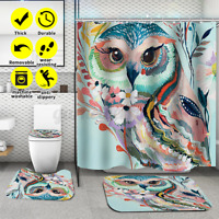 3/4Pcs Shower Curtain Polyester Non-Slip Pedestal Rug Lid Toilet Cover Bath Mat