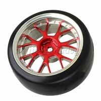 4x RC1:10 Drift Car Y Shape Plating Red Hub Wheel Rim with Smooth Plastic Tyre