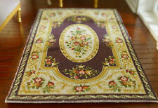 Dollhouse Antique Victorian Roses Floral Coffee Beige Miniature 1/12 Scale Rug