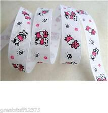 "7/8"" COW Friends Printed White Grosgrain Ribbon For Hairbows USA Seller"