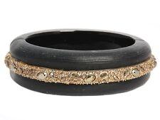ALEXIS BITTAR Wide Gray Crystal Bangle Bracelet EUC ~ Elegant and eye catching!