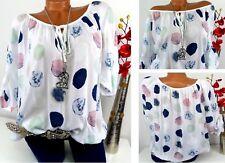 Bluse Shirt Oversize Tunika Italy Carmen Tupfen Punkte Weiß 42 44 46