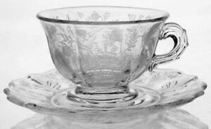 Fostoria Chintz  Footed Cup & Saucer (Baroque Shape) 6752318