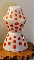 Vintage Anchor Hocking Fire-King Red Dot 7 1/2, 8 1/2 & 9 1/2 Mixing Bowls Set