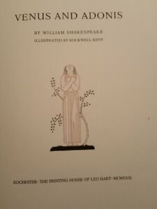 1931 Venus & Adonis Shakespeare SIGNED Rockwell Kent Limited Edition
