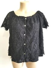 Generation Love Womens Carly Lace Black  Casual Top M NOW4U2 $165