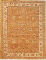 8.5x11.5 Hand-Knotted Farhan Carpet Traditional Gold Fine Wool Area Rug D30260