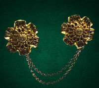 Vintage 1950's Gold Tone Flower Cardigan Sweater Clip