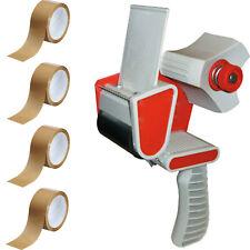 More details for 1 tape gun dispenser+4 rolls brown buff packaging parcel tape packing 48mm x 66m