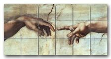 Michaelangelo Creation of Man Hands Marble Mural Backsplash Kitchen 24x12 in