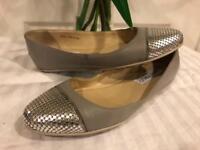 Jimmy Choo Women's Gray Waine Grey Leather Ballerina cap toes flat 34.5 (sh1000