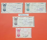 BILBAO 4 billetes CAJA DE AHORROS VIZCAINA 5+25+50+100 PESETAS 1936 EUZKADI 1937