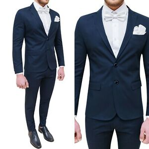Abito vestito da uomo matrimonio cerimonia blu slim fit cotone estivo 50 54 56
