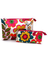 Clinique Floral Fuschia & Green Cosmetic Makeup Travel Bag (2 pcs)