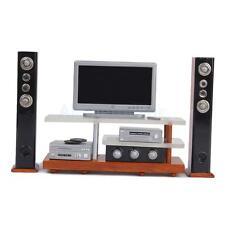 Modern Entertainment Centre TV DVD Speakers for 1:12 Dollhouse Miniature Toy AU
