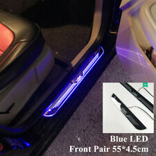 2PCS Blue LED Front Door Sill scuff Cover induction moving light Welcome lamp