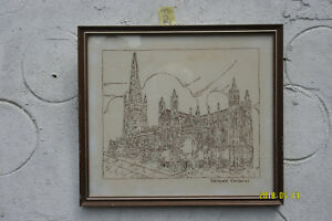 Stitchwork Picture of Wakefield Cathedral on Linen.