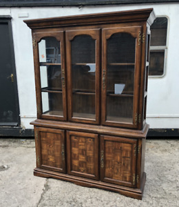 Gorgeous 1960's Display Cabinet In Distressed Oak