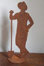 Saremo Rost Edelrost Deko Dekoration Gärtner Paul mit Schaufel Figur neu groß