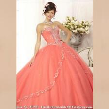 Coral Beaded Mori Lee Quinceanera Dresses Prom Ball Gowns