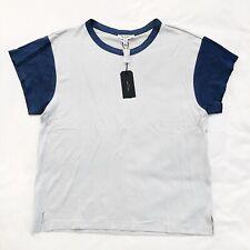 NWT Rag & Bone Colorblocked Penny Tee Shirt Silver Blue Womens Sz Medium M