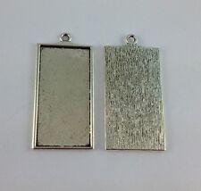 10PCS Tibetan Silver Rectangle Pendant Setting Blanks 46x23mm FC13498