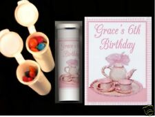 Tea party favors personalized candy tubes