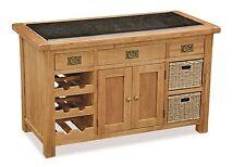 Zelah - Oak Granite Top Kitchen Island / Butchers Block / Solid Oak Waxed Style