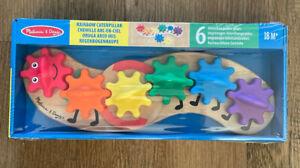 Melissa And Doug Wooden Rainbow Caterpillar Gear Toy 18 Months+