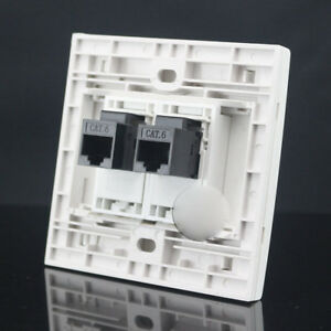Wall Socket Plate 2 Ports CAT6 Outlet RJ45 Panel Faceplate RJ45