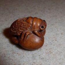 "Carved Finely Detailed Signed Wood 1"" Cicada Insect Bug Netsuke On Fruit"