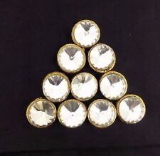 Gold Round Metal Rhinestone  Bling Fashion Buttons Sewing Craft Decor 10 Pcs