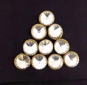 Gold Round Metal Rhinestone  Bling Fashion Buttons Sewing Craft Decor 10 Pcs