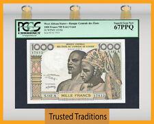 Tt Pk 103Ak Nd West African States 1000 Francs Pcgs 67 Ppq Superb Top Pop!