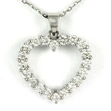 "14k White Gold Heart Diamond Pendant w/chain, 1.00 tdw, 18"" (NEW, 4.2g) 00012744"