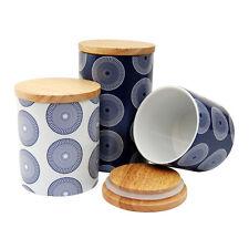 Ceramic Storage Canisters, Navy/ White, Airtight Bamboo Lids, Storage, Handwash