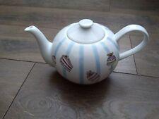 Debenhams Large Porcelain Globe Teapot Patisserie Pattern Cakes Blue Pink VGC