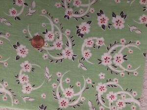 FLORAL on GREEN Full Vintage FEEDSACK Quilt Sewing Doll Clothes Craft Fabric