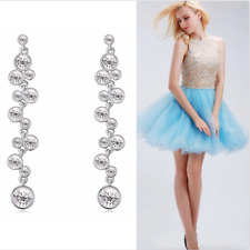 Platinum Plated Cascading Solitaire Circle Earrings Made With Swarovski Crystals